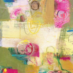 joyful, pink, green, cream, abstract, contemporary