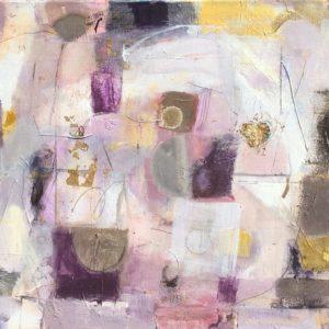 lilac, purple, ,goldleaf, ,heart, joyful, abstract, contemporary.