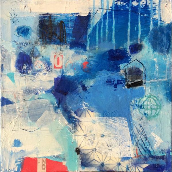 blue, water, red, white, abstract, joyful, contemporary, modern.