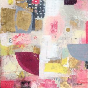 pink, white, gold, black, joyful, leaonardcohen, texture, mixedmedia, abstract ,contemporary.