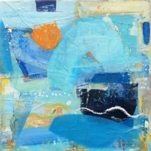 Blue Seaside Abstract Painting Orange